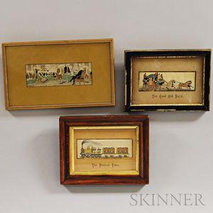 Three Framed Stevensgraph Scenes
