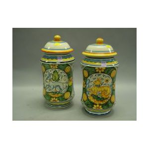 Pair of Deruta Tin Glazed Pottery Apothecary Jars.