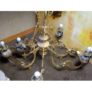 Large Victorian Aesthetic Gilt Cast Metal Eight-Arm Kerosene Chandelier