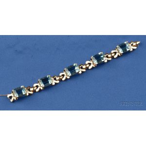 14kt Gold and Aquamarine Bracelet