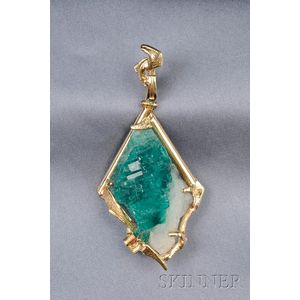 18kt Gold and Gem Rough Pendant