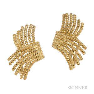 """18kt Gold """"V-Rope"""" Earrings, Schlumberger, Tiffany & Co."""