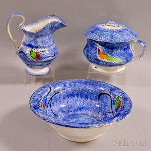 Three-piece Peafowl-decorated Blue Spatterware Chamber Set