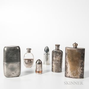 Four Flasks and Two Bullet-form Shot Glass Containers