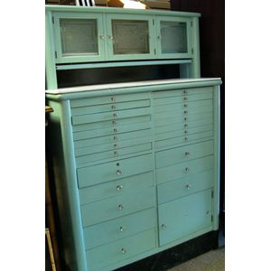 Art Deco Turquoise Blue Painted Metal Twenty-five Drawer Dentists Cabinet with White Glass-top Surfaces.