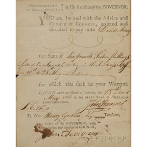 Framed Pay Warrant to Henry Gardner Signed by John Hancock, Governor of Massachusett   s