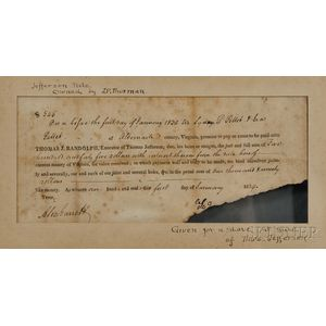 Randolph, Thomas Jefferson (1792-1875) Receipt for Moses Gillette, 1 January 1829.