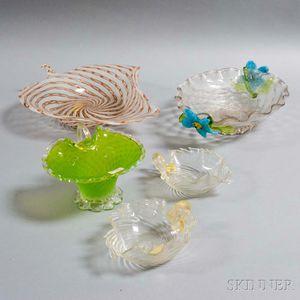Five Victorian and Venetian Art Glass Items.     Estimate $20-200