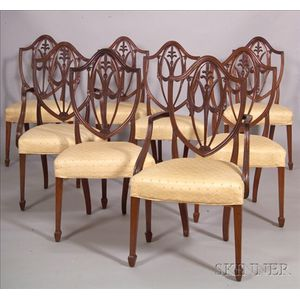 Set of Eight Federal-style Mahogany Carved Shieldback Dining Chairs