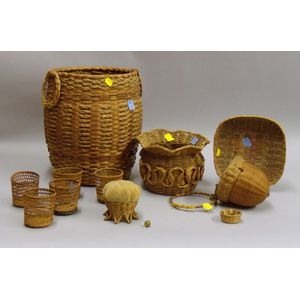 Eleven Assorted Woven Basketry Items