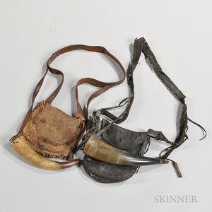 19th Century and a 20th Century Hunting Pouch with Powder Horn