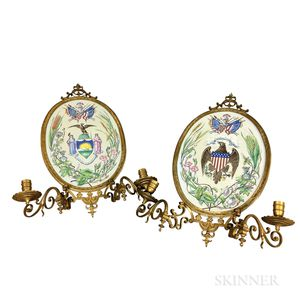Pair of Enameled Porcelain and Brass Two-light Sconces