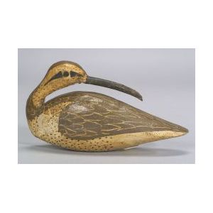 Carved and Painted Preening Curlew Decoy