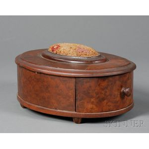 Oval Mahogany and Mahogany Veneer Sewing Box