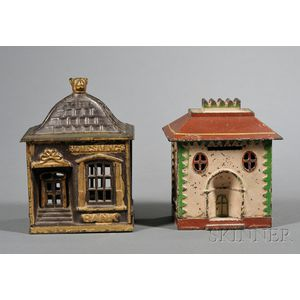 Two Painted Cast Iron Architectural Still Banks