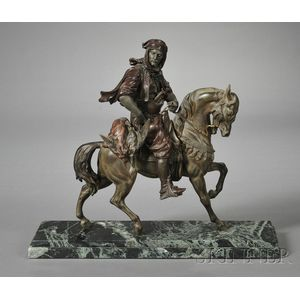 Patinated White Metal Figure of a Moroccan Horseman