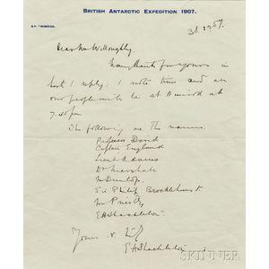 Shackleton, Sir Ernest Henry (1874-1922) Autograph Letter Signed, 31 December 1907.