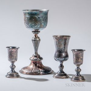 Four Pieces of Russian .875 Silver Tableware