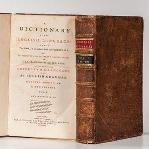 Johnson, Samuel (1709-1784) A Dictionary of the English Language.
