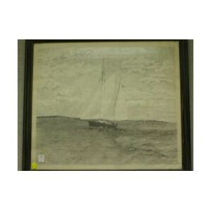 Framed Boat Drawing