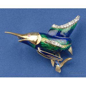 18kt Gold, Enamel and Diamond Marlin Brooch
