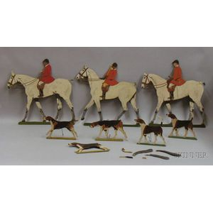 Three Painted Cut-out Wooden Mounted Fox Hunter Figures and Five Fox Hound Figures.