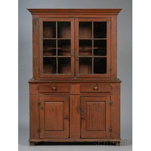 Painted Pine Glazed Step-back Cupboard in Two Parts