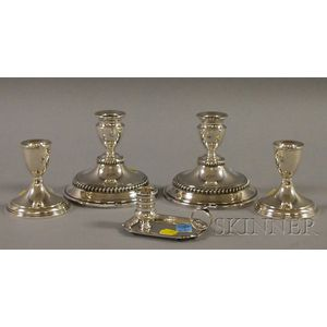 Five Silver and Silver-plated Candlesticks