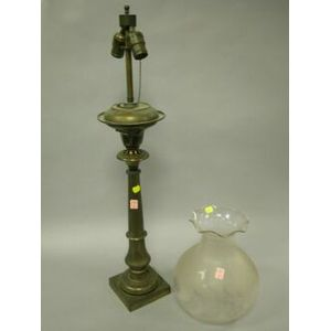 Brass Astral Lamp with Frosted Colorless Glass Shade.