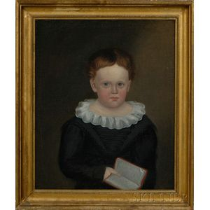 American School, 19th Century      Portrait of a Young Boy Holding a Book.