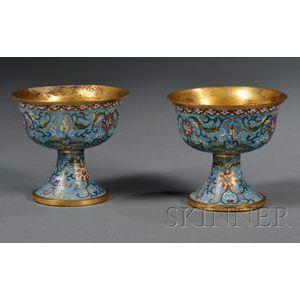 Pair of Cloisonné Enameled Stem Cups