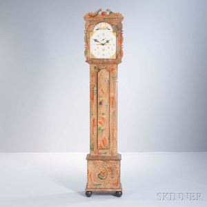 Paint-decorated Wooden Works Tall Clock