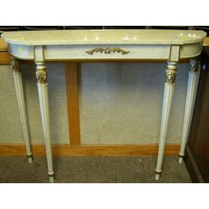 Louis XVI Style Marble-top Parcel-gilt and Painted Carved Wood Console Table.