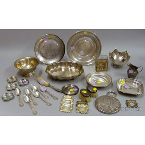 Approximately Thirty-three Sterling and Silver Plated Serving Items