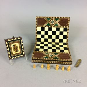 Contemporary Inlaid Wood Card Box, Chess Board, and Penknife.     Estimate $50-100