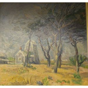 Framed Oil on Masonite, Sunset in the Valley of Wells, NY,   by John P. Gruet (American, 20th Century)
