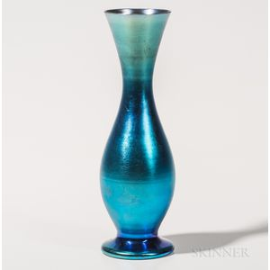 Tiffany Favrile Blue Iridescent Vase