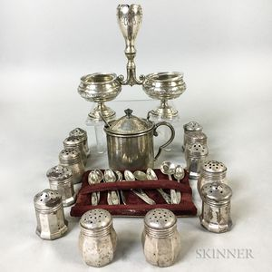 Group of Silver Salt Shakers, Salts, and Salt Spoons