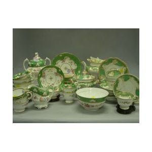 Large Assembled Group of Davenport Green and Floral Decorated Ceramic Tea Wares.