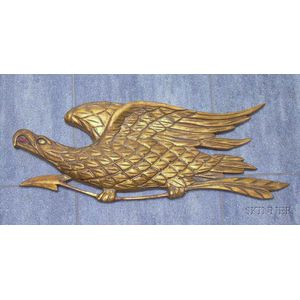 Bellamy-style Gilt Carved Wooden Eagle Plaque.