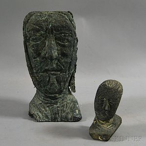 Alfred Milton Duca (American, 1920-1997)      Two Sculpture Heads: Bust of Socrates