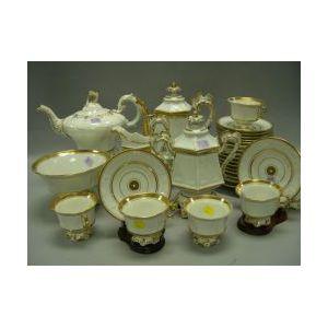 Thirty-one Piece Assembled English Gilt Decorated Ceramic Tea Set.