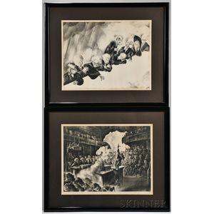 Al (Albert) Hirschfeld (American, 1903-2003) Two Works: Nine Old Men of the Supreme Court, 1937, signed HIRSCHFELD in pencil l.r., nu