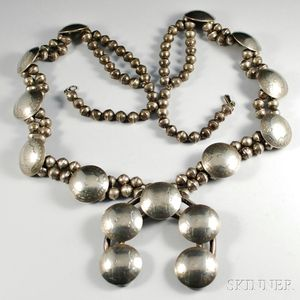 Navajo Silver Necklace with Domed Quarters