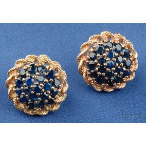 14kt Gold and Sapphire Earclips