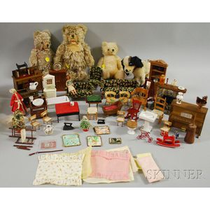 Four Steiff Mohair Animals and a Lot of Dollhouse Furniture and Accessories
