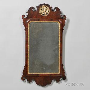 Mahogany Veneer Chippendale Scroll-frame Mirror
