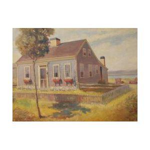 Framed Oil Cape Cod Cottage Scene