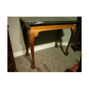 Chippendale-style Black Marble-top Carved Mahogany Side Table.