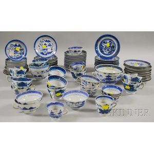 Approximately Eighty-two Pieces of Chinese Export Porcelain Canton Tableware